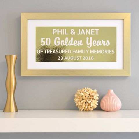 Personalised Golden Anniversary Metallic Framed Print